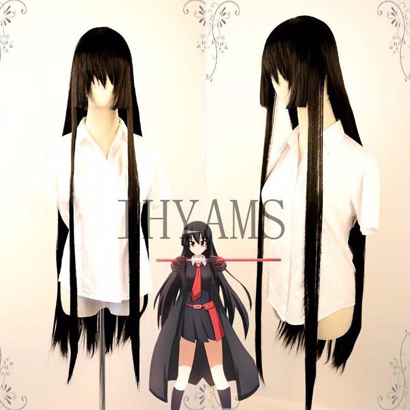 100 cm haute qualité résistant à la chaleur Akame perruque Anime Akame ga tuer Cosplay perruques Long noir cheveux synthétiques + perruque Cap