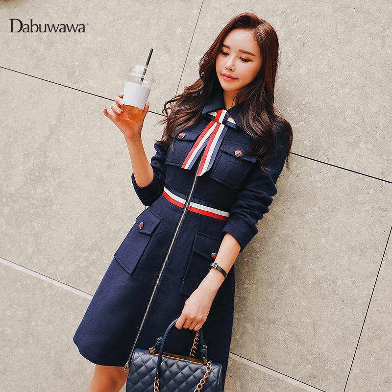 Dabuwawa Women Woolen Coat Autumn Winter Bow Tie Square Collar Slim Pockets Office Lady Long Jackets Coats Female D18DLN059