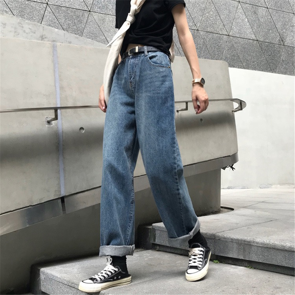 Womens spring autumn high waist washed wide leg jeans Harajuku style retro loose street trend hip-hop hip hop denim trousers