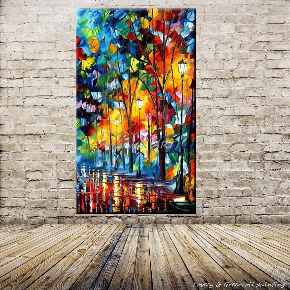 Handpainted Wall Art Modern Abstract Paintings Rain Tree Road Canvas Colorful Palette Knife