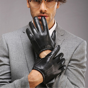 Image 2 - Genuine Leather Men Gloves Fashion Casual Sheepskin Glove Black Brown Five Fingers Short Style Male Driving Gloves M017PQ2