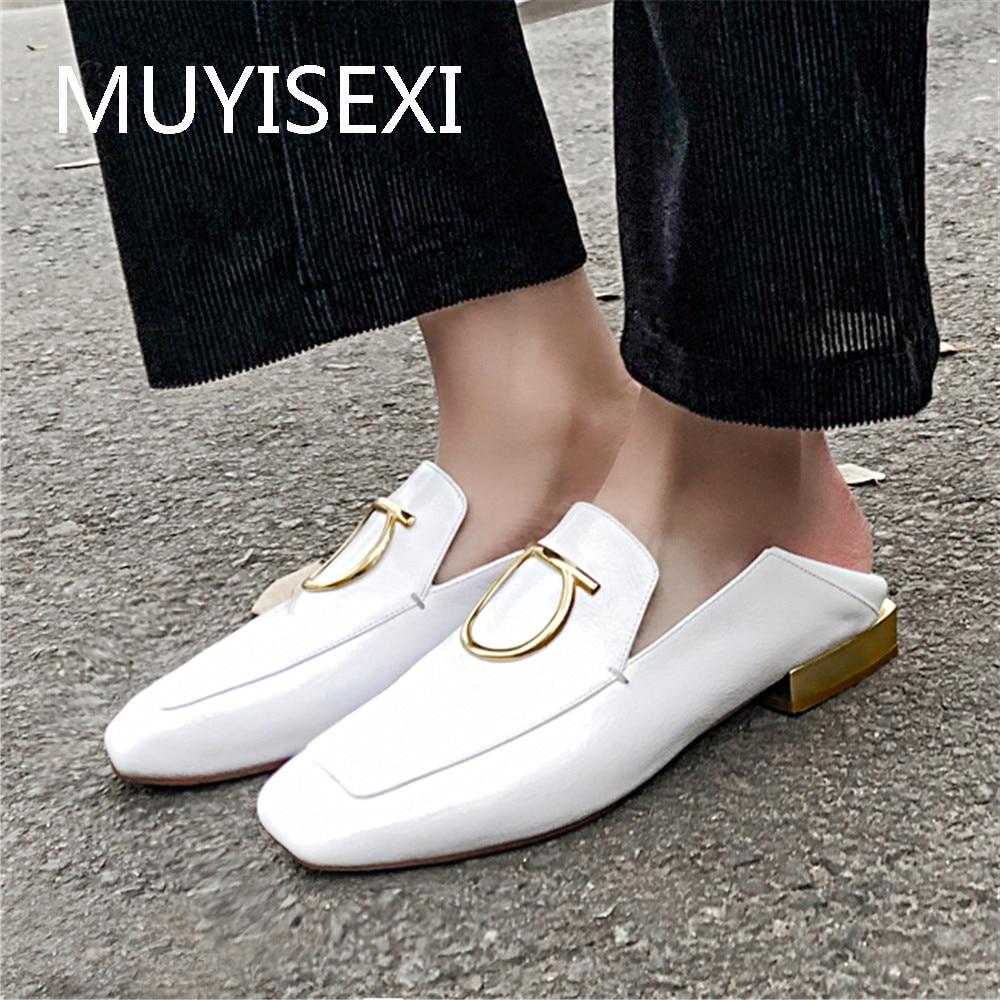 Kobiety marka buty mokasyny mokasyny prawdziwej skóry kwadratowych Toe mieszkania białe czarne na co dzień kobiet obuwie na co dzień MZP02 MUYISEXI w Damskie buty typu flats od Buty na  Grupa 1