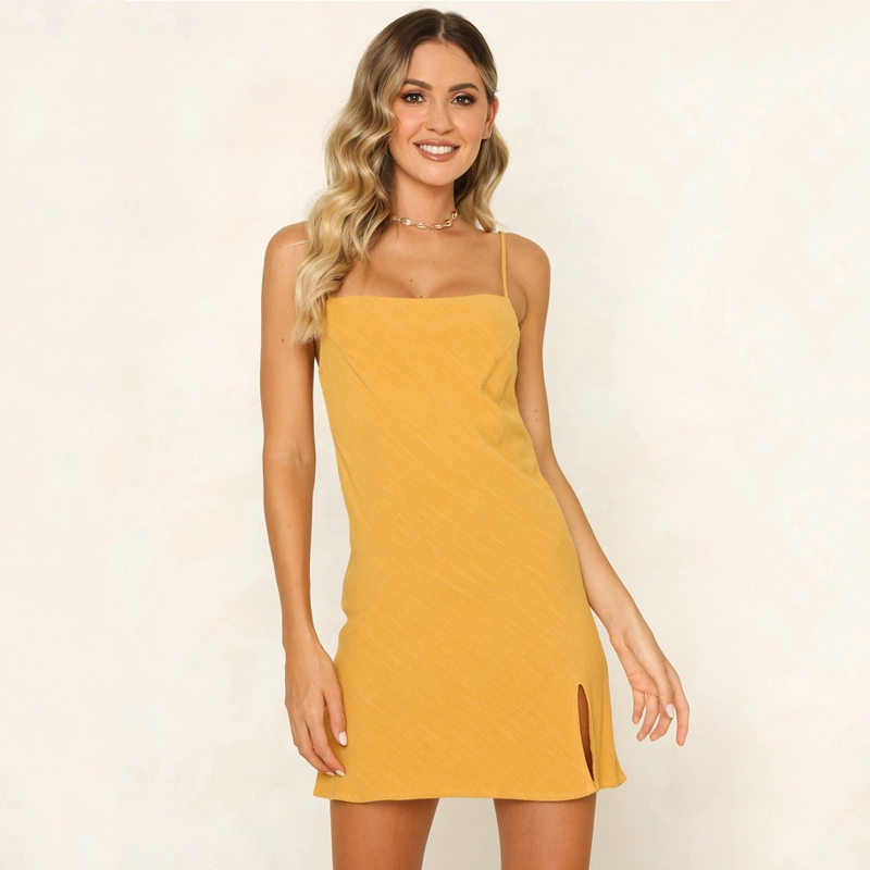 2019 Summer Sexy Split Women Sling Bodycon Dress Spaghetti Strap Backless Mini Dresses Loose Casual Sleeveless Party Vestidos in Dresses from Women 39 s Clothing