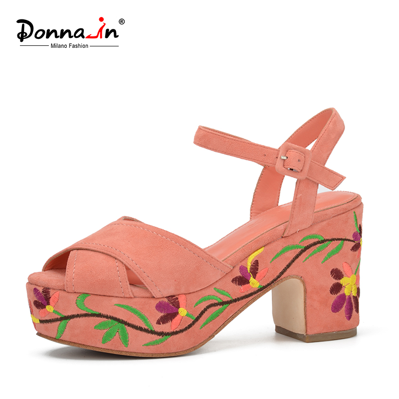 ФОТО Donna-in 2017 Fashion Summer Wedges Platform with Patterned heel Suede leather Ladies Sandals