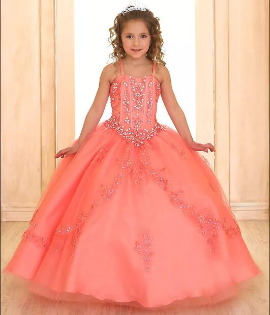 все цены на Luxury Princess Ball Gown for Girls Pageant Dresses Sleeveless Beaded Crystals Lace Up 2018 Flower Girl Dress With Jacket онлайн