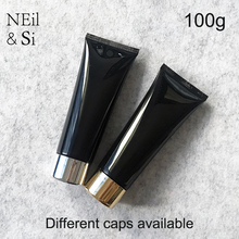 Free Shipping 100g Black Plastic Cosmetic Cream Bottle 100ml Facial Cleanser Lotion Tube Hotel Supply Shampoo Packing Bottles