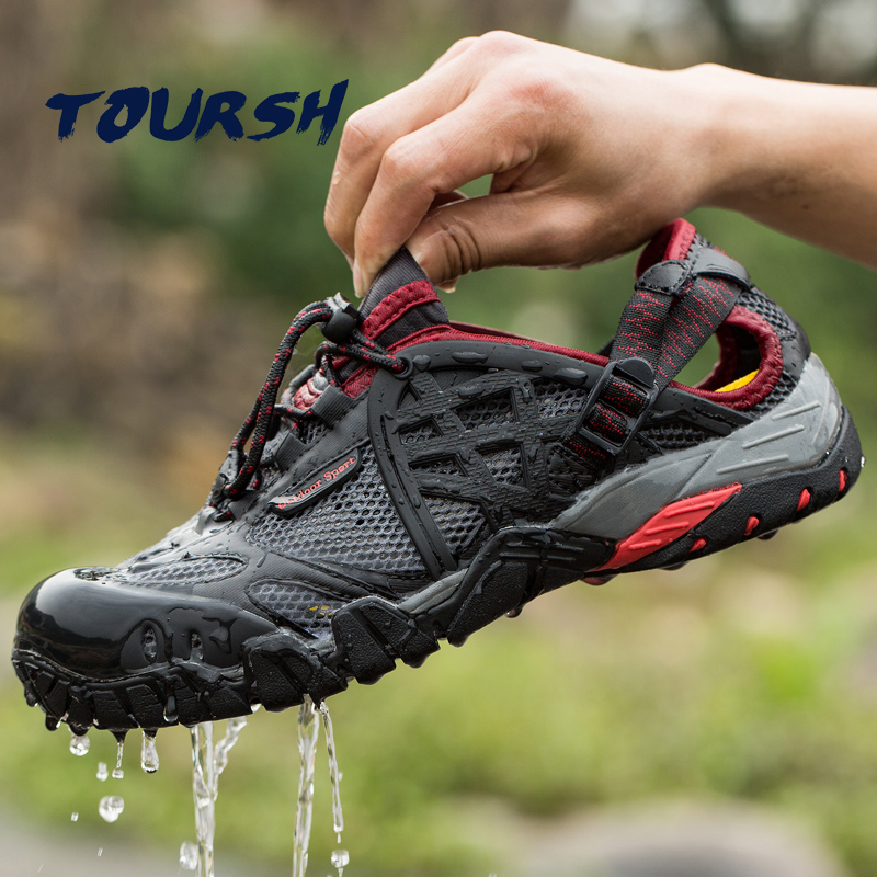 TOURSH 2017 Outdoor Sneakers Breathable Hiking Shoes Big Size Men Women Outdoor Hiking Sandals Men Trekking Trail Water Sandals