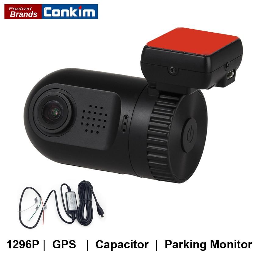 Conkim Mini 0805P Bilkamera Full HD 1296P Dash Cam ADAS LDWS Pro Kondensator Körningsinspelare Auto Registrar Parkering Hård Wire Ki