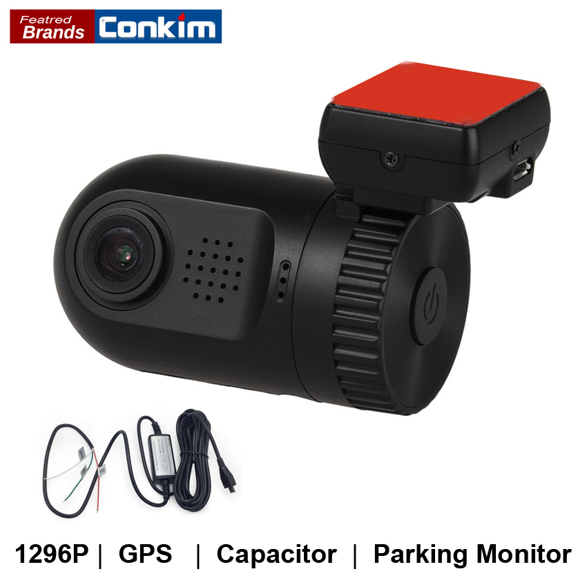 Conkim Mini 0805P Car Camera Full HD 1296P Dash Cam ADAS LDWS Pro Capacitor Driving Recorder Auto Registrar Parking Hard Wire Ki
