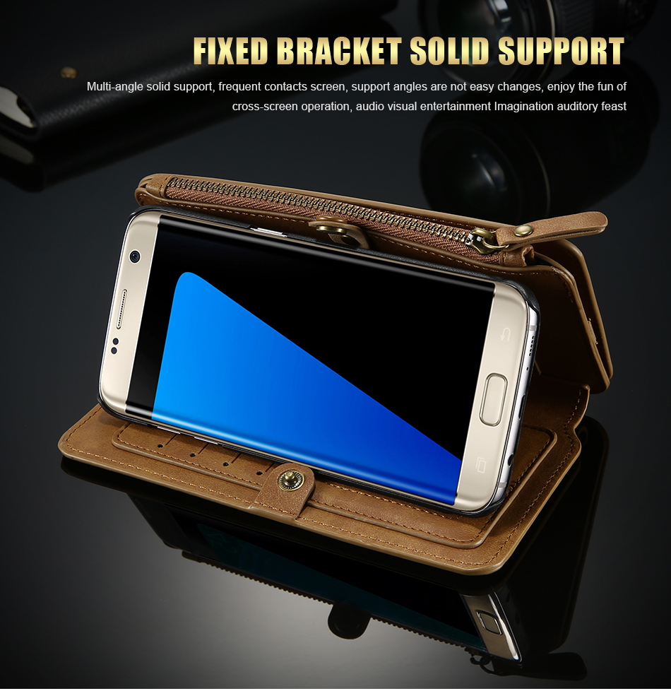 FLOVEME Hybrid Detachable Leather Case For Samsung Galaxy S7 Edge 18 Card Slot Metal Zipper Cash Storage Wallet Pouch Cover Bag (6)
