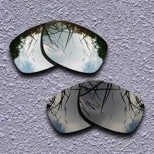 e134a32656 De titanio de plata y negro polarizadas lentes Oakley Jupiter cuadrado gafas  de sol