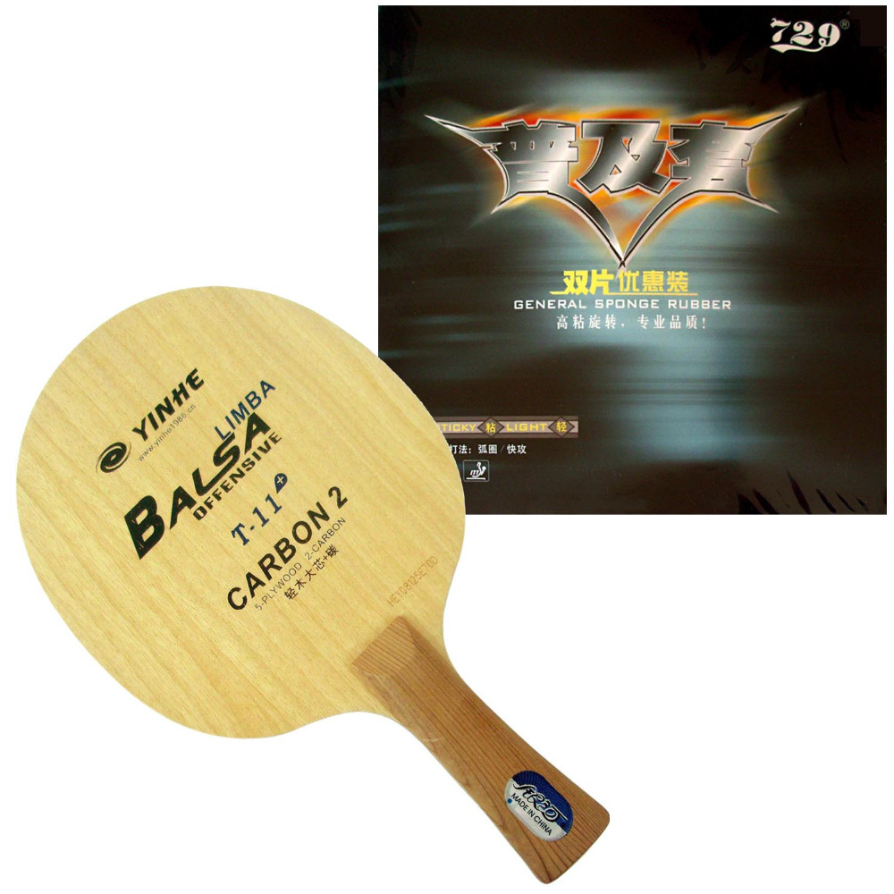 Pro Table Tennis Combo Paddle / Racket: Galaxy YINHE T-11+ Blade with 2x RITC 729 General Rubbers Shakehand long handle FL original pro table tennis combo racket dhs power g13 pg 13 pg13 pg 13 blade with 2x ritc 729 general rubbers long shakehand fl