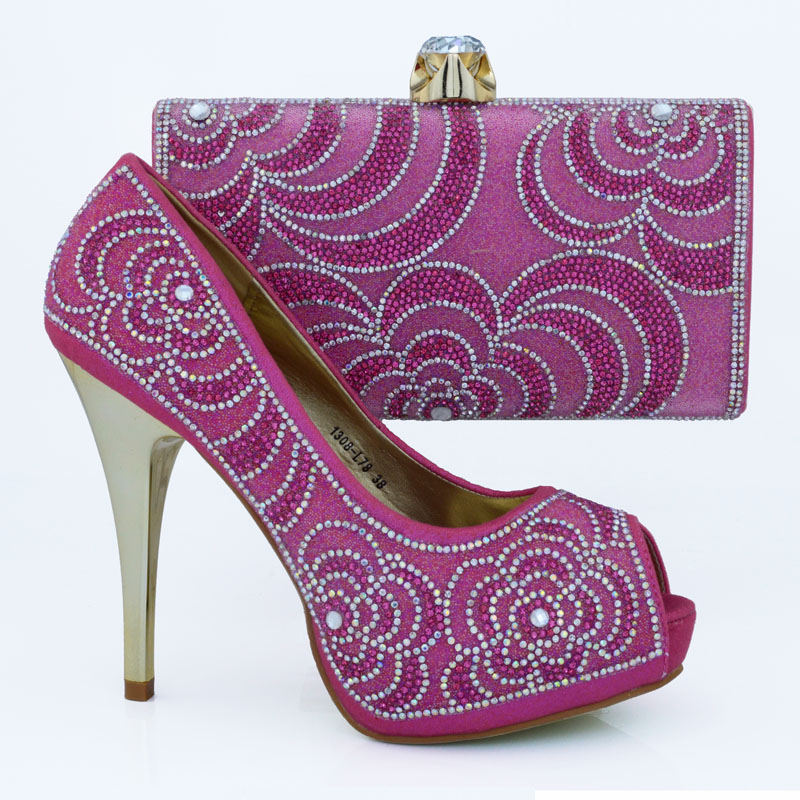 ФОТО Fashion nigerian wedding shoes and bag set Fuchsia for Italy style brand shoes In Fuchsia 1308-L78 for size 38-42 in stock.