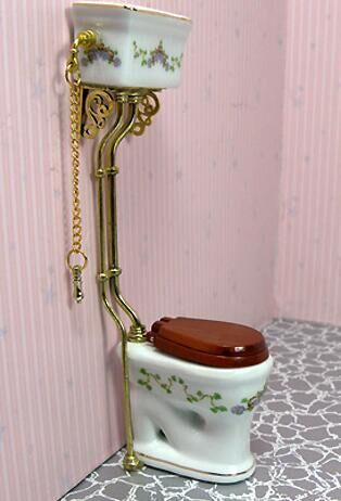 New Dollhouse Miniature Furniture Bathroom Toilet Closestool White Porcelain With Chain In Figurines Miniatures From Home Garden On Aliexpress
