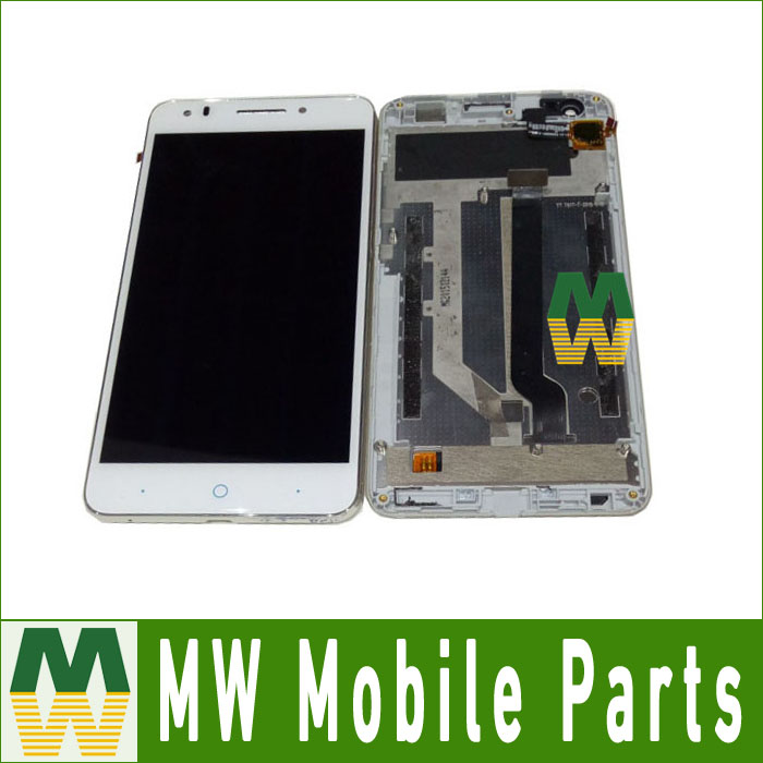 Black White  Color 1PC/ Lot High quality For ZTE Blade A570 LCD Display + Touch Screen Assembly Digitizer with frame  high quality 1pc lot lcd display touch screen assembly digitizer for htc 10 evo white black color with tools