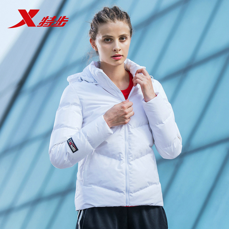 882428199041 Xtep Winter Women Ultra Light Down Jacket Hooded Jackets Long Sleeve Warm Slim Coat Parka Female цена