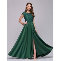 Deep Green Long A Line Court Trailing Cap Sleeve Appliques Party Dresses 2018 New Fashion Sister