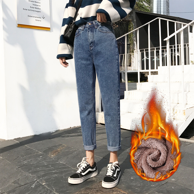 92922877d2c Autumn Winter Plus Size Boyfriend Jeans Baggy Vintage High Waist Boyfriend  Jeans For Women Harem Pants Jeans Warm Loose Denim