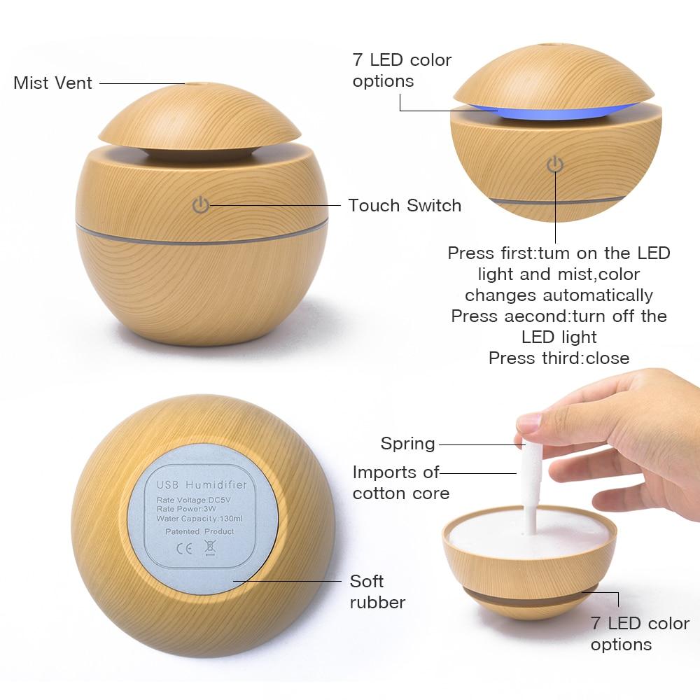 Mini Ultrasonic Air Humidifier USB Aroma Diffuser Wood Grain LED Night Light Electric Essential Oil Diffuser Air Purifier Mist in Humidifiers from Home Appliances