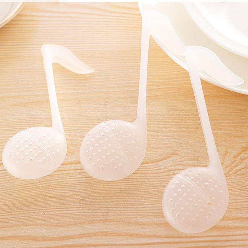 Music Note Shape Tea Strainers Cute Useful Infuser Leaf Strainer Filter Diffuser Plastic Spoon Kitchen Tools