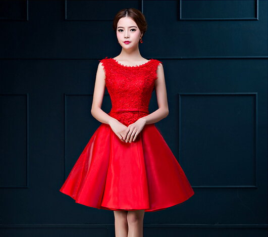 2019 Free shipping Red Green Rosy Champagne O-neck Homecoming Party Gowns   Cocktail     dresses   robe de soiree Robe de soiree TK626