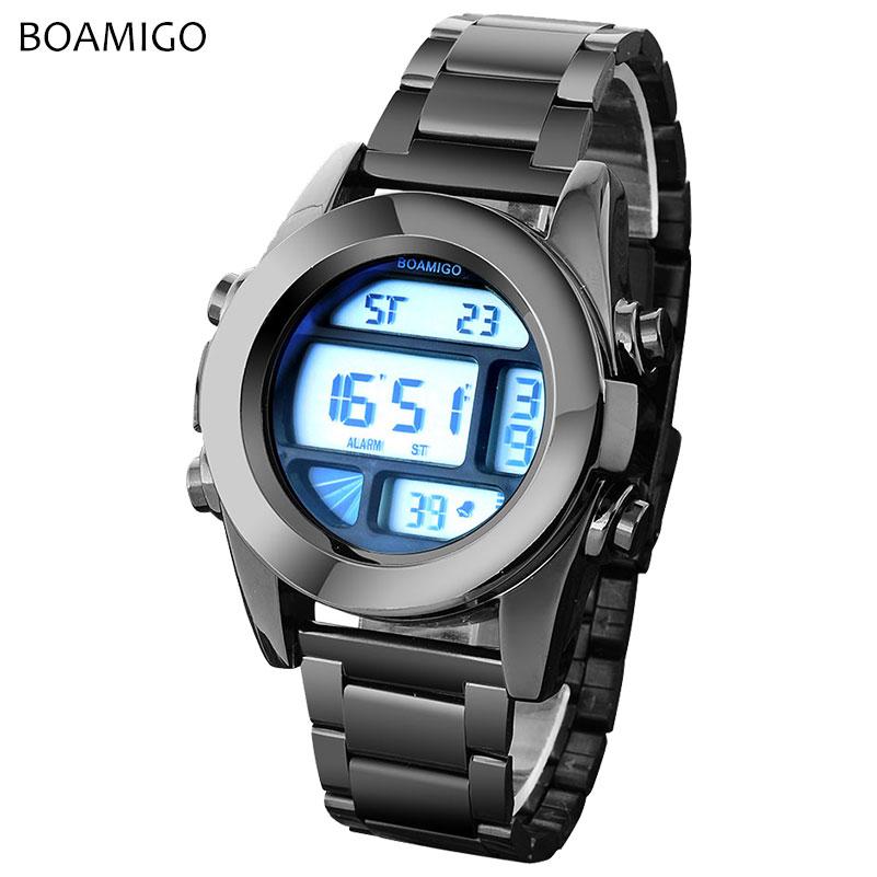 Prix pour Hommes numérique montres sport montres boamigo marque led montres hommes mode en acier noir montres pour hommes homme horloge relogio masculino