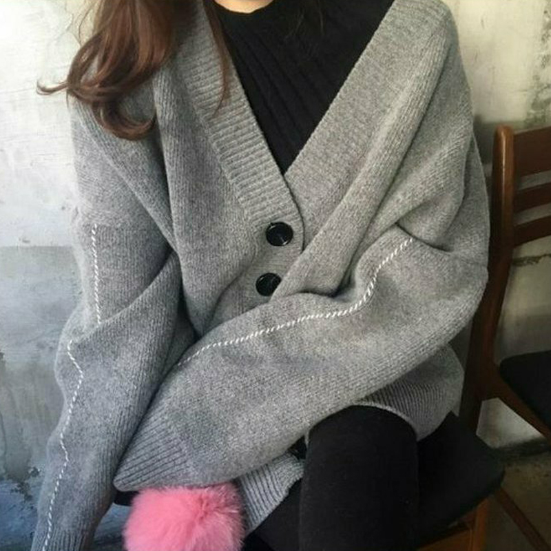 2019 Korean Style Women Autumn Sweater Breasted Buttons Cardigan Knitted Jacket Outwear Female Oversized Sweaters