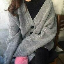 2019 Style coréen femmes automne chandail boutonnage boutons Cardigan tricoté veste Outwear femme surdimensionné chandails