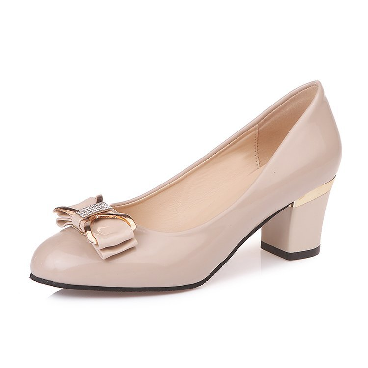 2019 Women High Heels Shoes Woman Thick Work Shoes Plus Size 42 Rhinestone Bow Nude Black Office Shoes White Women Wedding Shoes