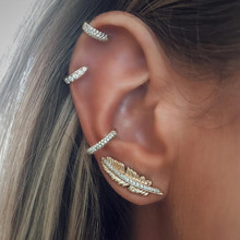 4pcs/set Fashion Feather Shape Crystal Stud Earrings Set Bijoux Elegant Gold Color Brincos Charm Jewelry Accessories