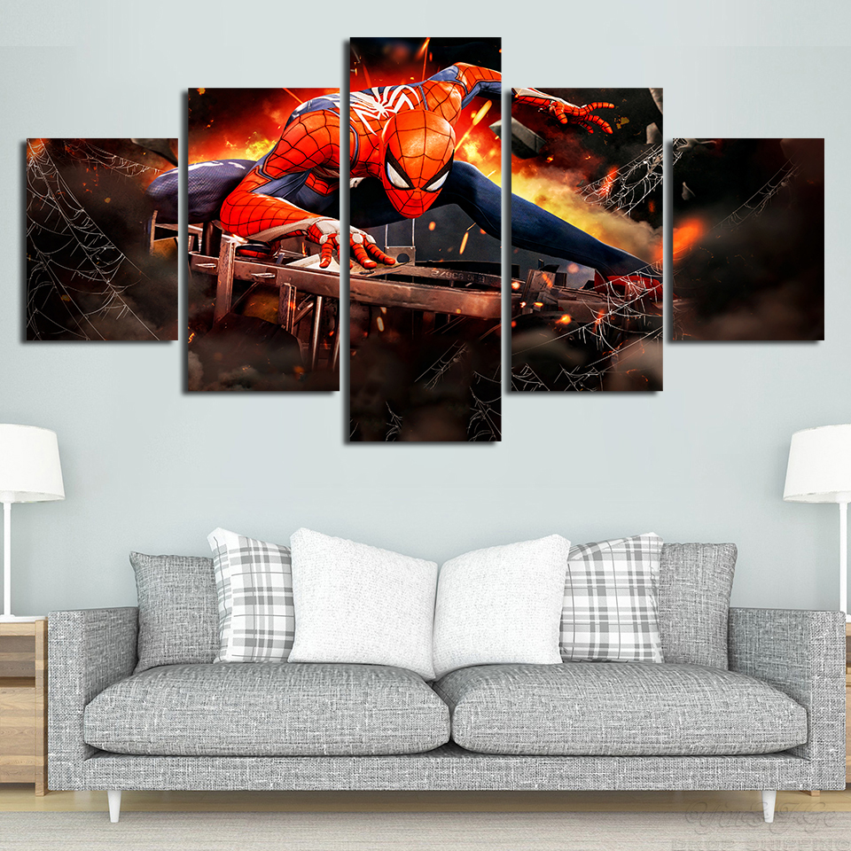 5 Piece Framed HD Printed Spiderman Movie Modern Home Decor Canvas Picture Art Print Painting On Canvas Wall Arts5 Piece Framed HD Printed Spiderman Movie Modern Home Decor Canvas Picture Art Print Painting On Canvas Wall Arts