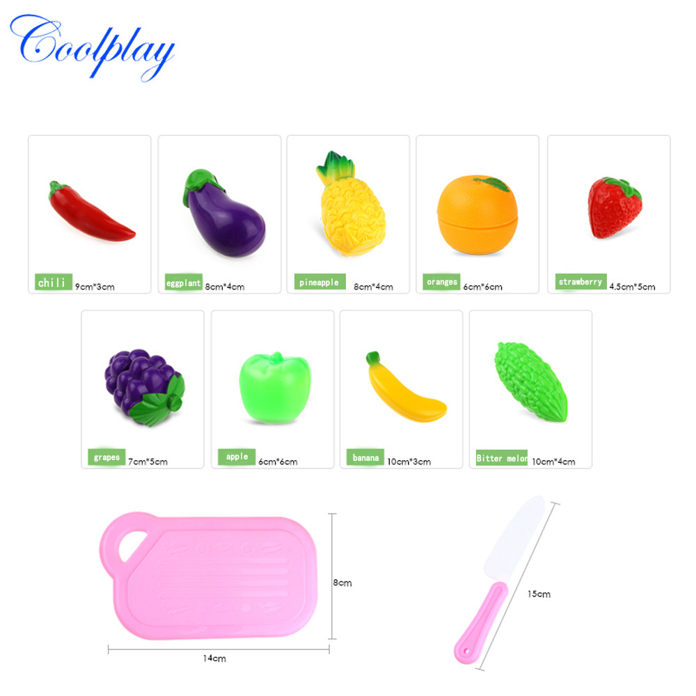 2019 Hot Sale Children 11pc Cutting Fruit Vegetable Pretend Play Children Kid Educational Toy Interesting Play House Toys Set