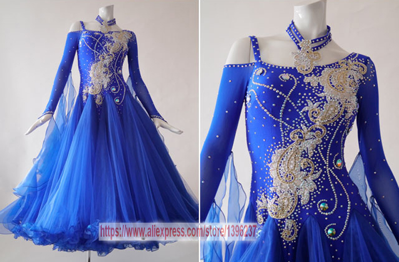 Ballroom Dresses For Women New Royal Blue Profession font b Tango b font Flamenco Waltz Modren