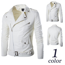 Mens Brand Spring Autumn British White Washed Leather Jacket 2017 PU Men Casual Motorcycle Slim Fit Zipper Jackets Coats M-4XL