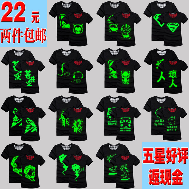 Summer men's clothing new arrival luminous t-shirt short-sleeve neon green light emitting male cartoon basic shirt lovers
