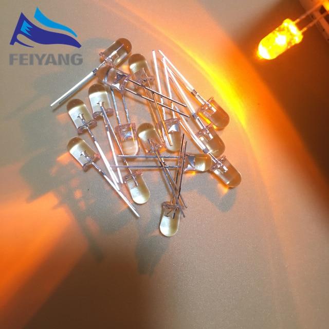 1000PCS 5 มม.LED FlickerไดโอดกระพริบสีเหลืองกระพริบเทียนLight Emitting DiodeกระพริบแฟลชBlink Diodo Danshan Y