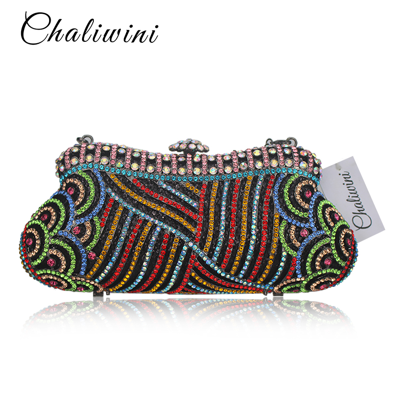 Colorful Metallic Crystal Striped Women Cell Phone Wallet Silicone Toiletry Bangkok Clutch Bag Dinner Wedding Dress Evening Bag