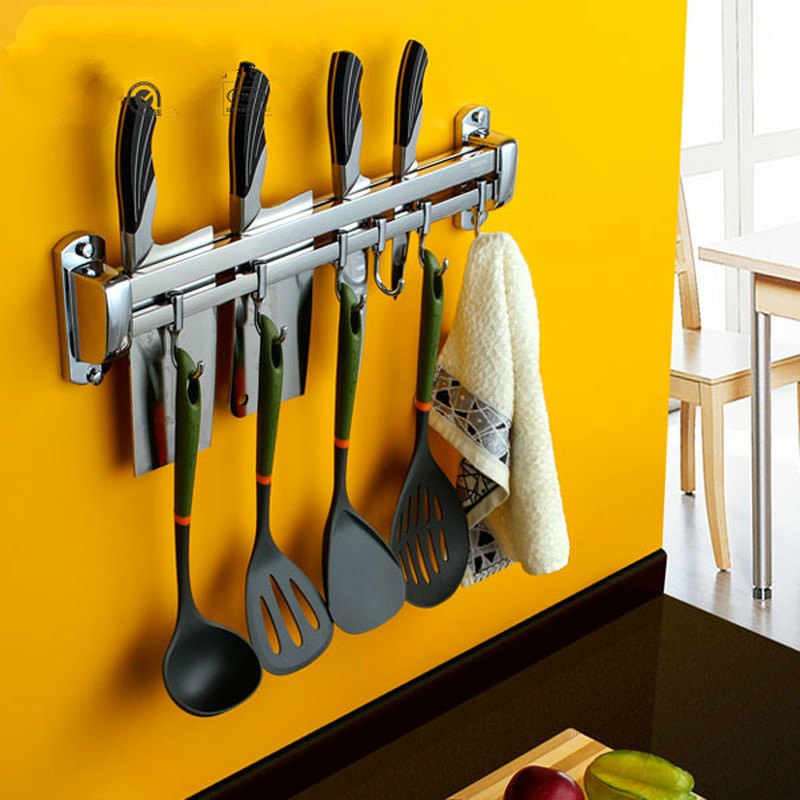 A1 304 stainless steel hanging alloy kitchen knife holder spatula hook kitchen knife rack wall mount LU4175 цены