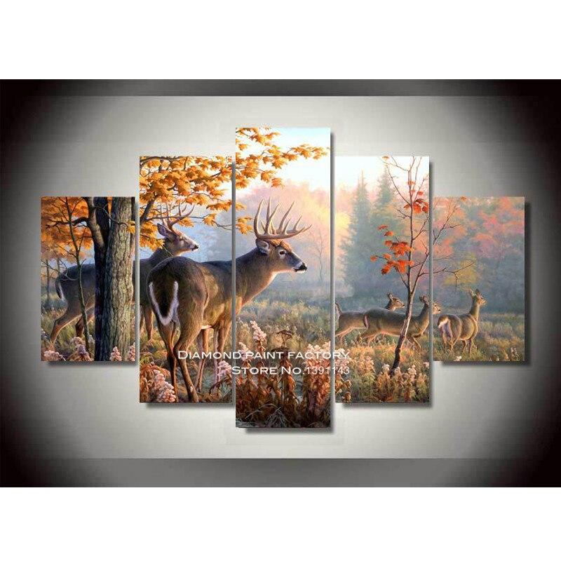 Paysage 3D bricolage diamant broderie peinture automne cerf point de croix carré pleine mosaïque motif aneth artisanat Multi décor photo