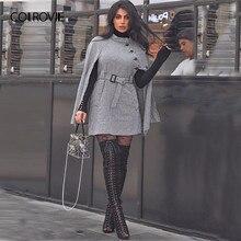 COLROVIE, черный, винтажный, в клетку, с поясом, гусиная лапка, накидка, полушерстяное, Женское пальто, осень, плащ, рукав, зимняя женская верхняя одежда