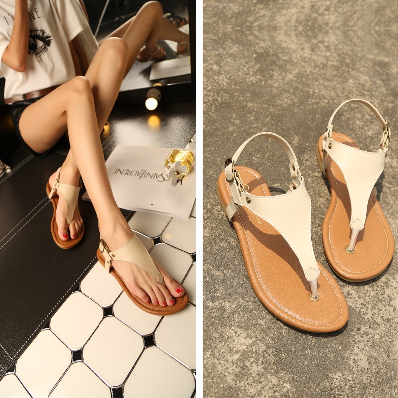 2016 Roman summer women students flat soft bottom thong flip flops buckle rivets T-strap slippers girls gladiator sandals shoes new sandals women 2016 summer casual women shoes roman gladiator girls flat sandals ladies white flip flops nice sandals