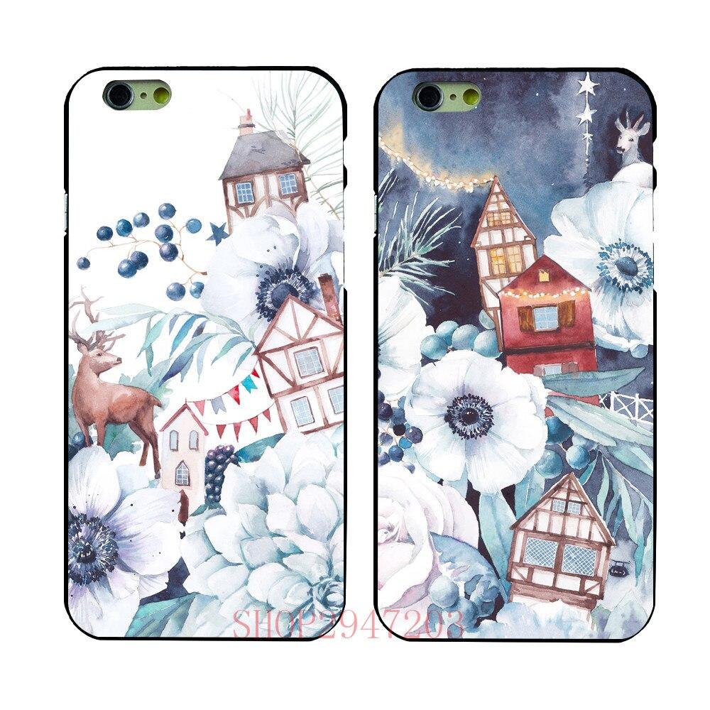 Deer in the case of white flower Black Hard Shell For Apple iphone 4 4s 5 5s SE 5c 6 6S 6PLUS 7 7PLUS