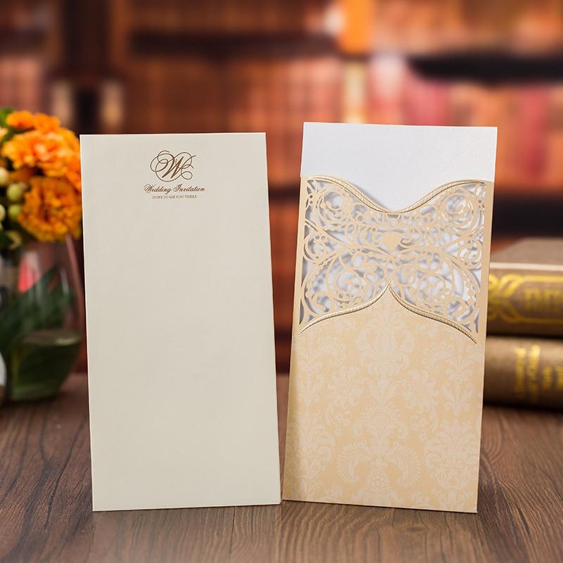 50 ชิ้น/ล็อตทองสีแดงตัดเลเซอร์คำเชิญการ์ดแนวตั้งบันทึกวันที่เจ้าสาวแต่งงานคำเชิญ Party Supplies-ใน การ์ดและบัตรเชิญ จาก บ้านและสวน บน   3