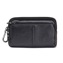 Real Genuine Leather Clutch Bag Casual Business Men Cell Phone Case Hip Bum Hook Loops Skin Belt Waist Fanny Bags Purse Pouch