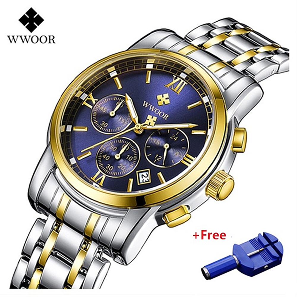 WWOOR Men Watch Stainless Steel Quartz Wristwatches Chronograph Waterproof Luxury Gold Wrist Fashion Male Clock