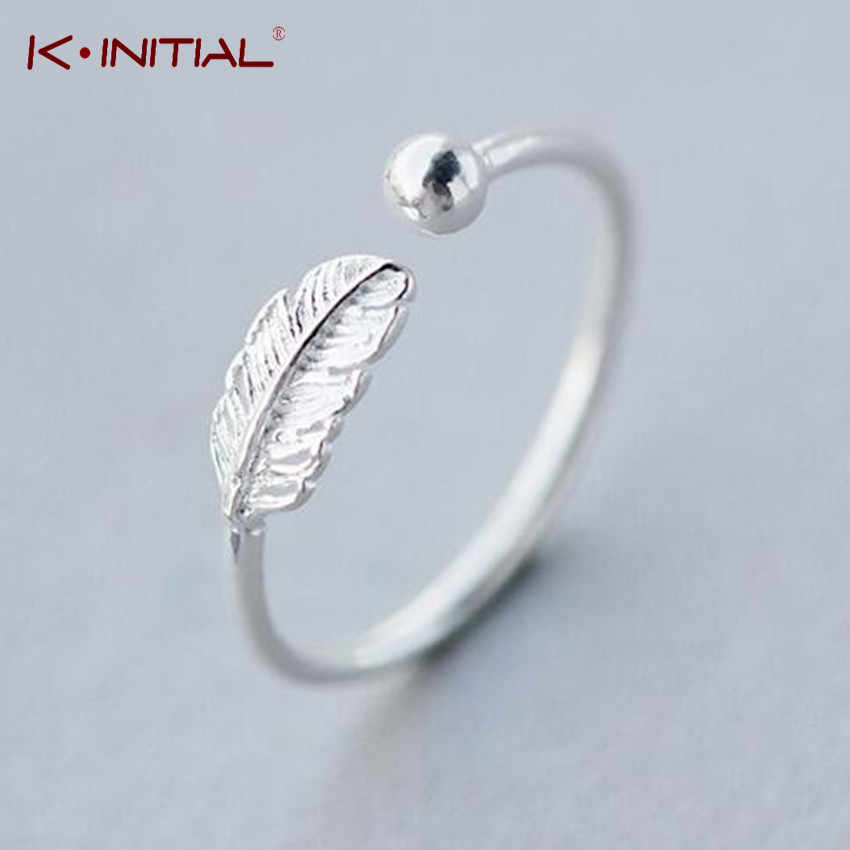Kinitial Simple Leaf Feather Rings Leaf Bird Feather Open Adjust Ring Christmas Minimalist Jewelry for Women Girls Charm Gift