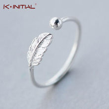 Kinitial Simple Leaf Feather Rings Leaf Bird Feather Open Adjust Ring Christmas Minimalist Jewelry for Women Girls Charm Gift(China)