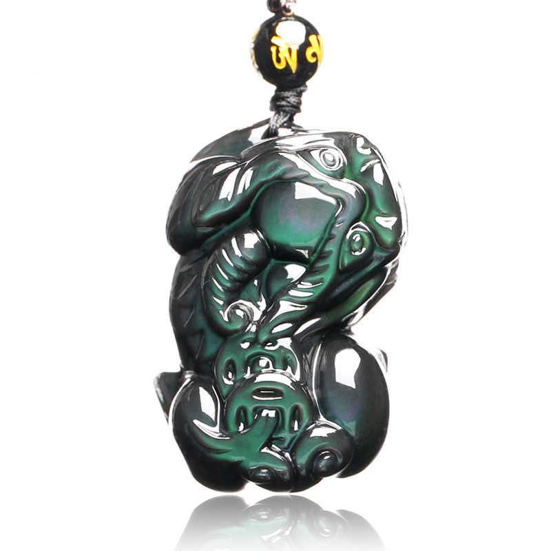 Đồ trang sức Obsidian Mặt Dây Chuyền Vòng Cổ Dũng Cảm Quân Đào Hoa Đá Tự Nhiên Người Đàn Ông Phụ Nữ pixiu Mặt Dây Chuyền Rồng với May Mắn Chuỗi