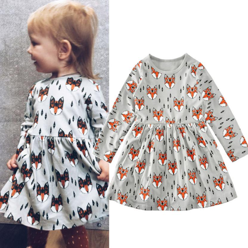 Girls Dress 2017 Toddler Baby Girl Kid Dress Clothes Long Sleeve Foxes Print Long Sleeve Dress D50 letter print long sleeve sweatshirt dress page 3