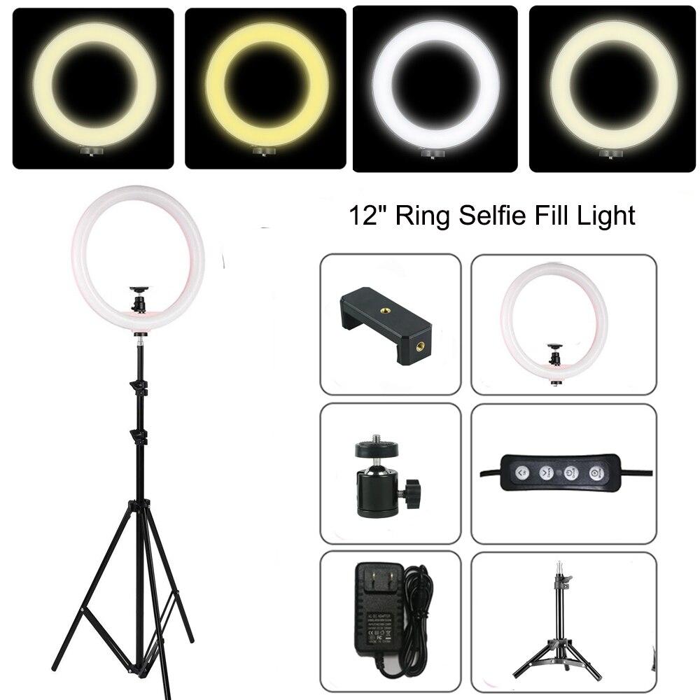 12 LED Ring Light Annular Lamp Bi color 3200K 5500K CRI95 24W Ring Lamps for Video